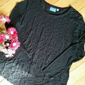 {Simply Vera Wang} Black Soft Lace Long Sleeve Top